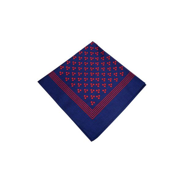 Navy Cotton Bandana with Triple Red Spots