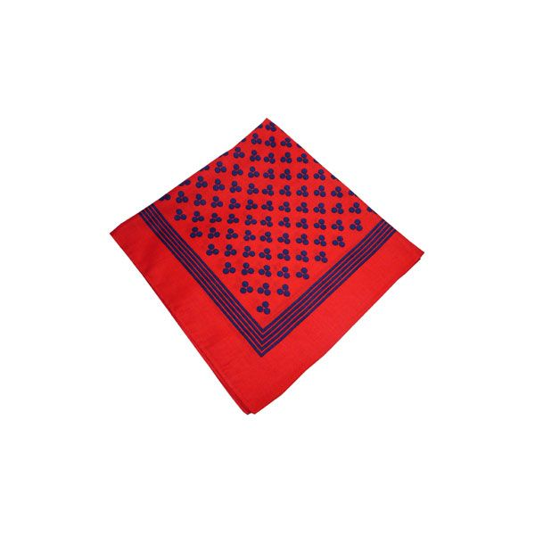 Red Cotton Bandana with Triple Navy Spots