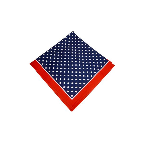 Navy Bandana with White Spots and a Red Border
