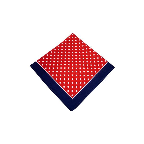 Red Bandana with White Spots and a Navy Border
