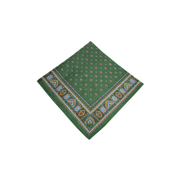 Green Diamond Paisley Bandana with Patterned Border