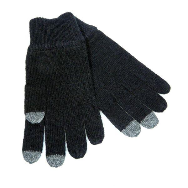 Black Smart Screen Cashmere Gloves.