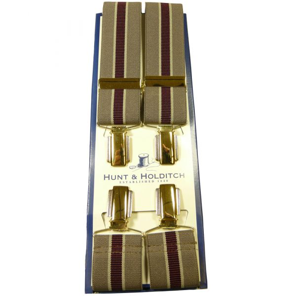 Clip Braces in Mushroom with Wine Centre Stripe from Hunt & Holditch