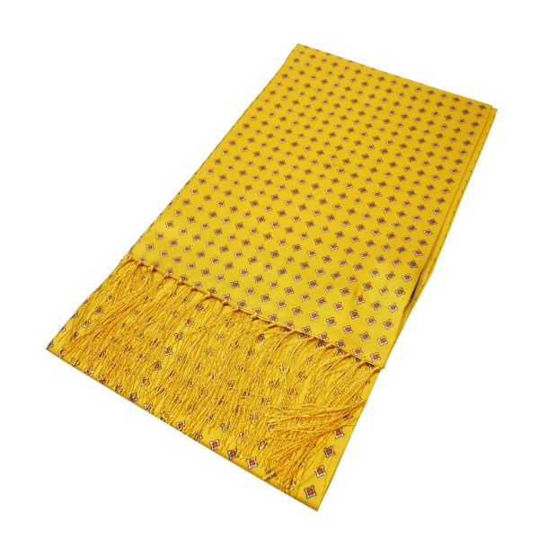 Gold with Diamond Design Printed Silk Scarf