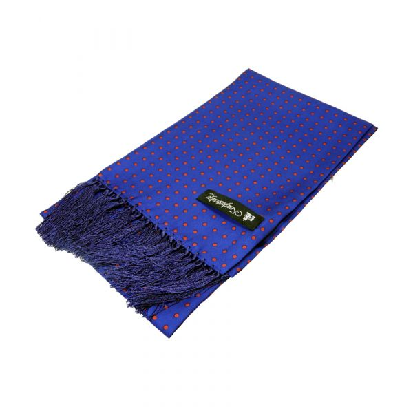 Knightsbridge Neckwear - Royal Blue Printed Silk Scarf With Red Spots