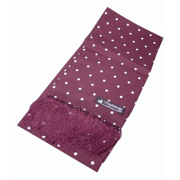 Burgundy Printed Silk Scarf With White Spots - ACC831