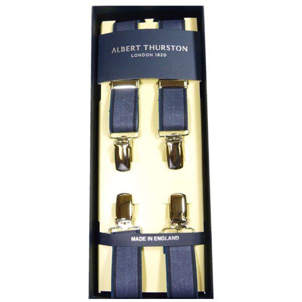 Albert Thurston Dark Blue with Navy border Clip Attach Braces - Skinny