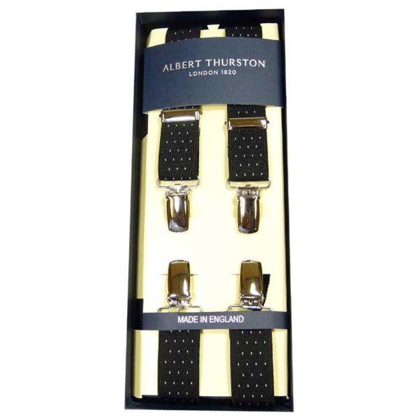Albert Thurston Black Pindot Clip Attach Braces - Skinny