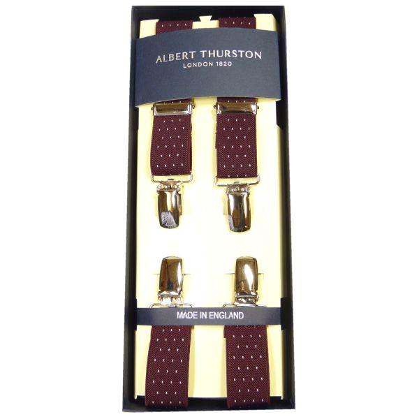 Albert Thurston Wine Pindot Clip Attach Braces - Skinny
