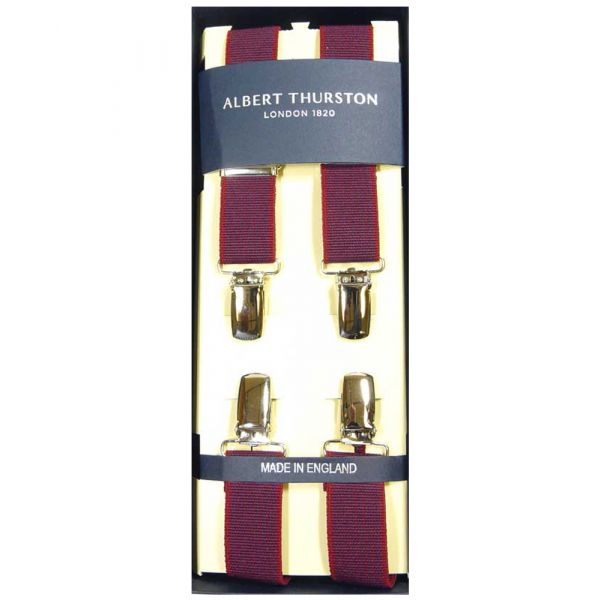 Albert Thurston Red with Navy Weave Clip Attach Braces - Skinny