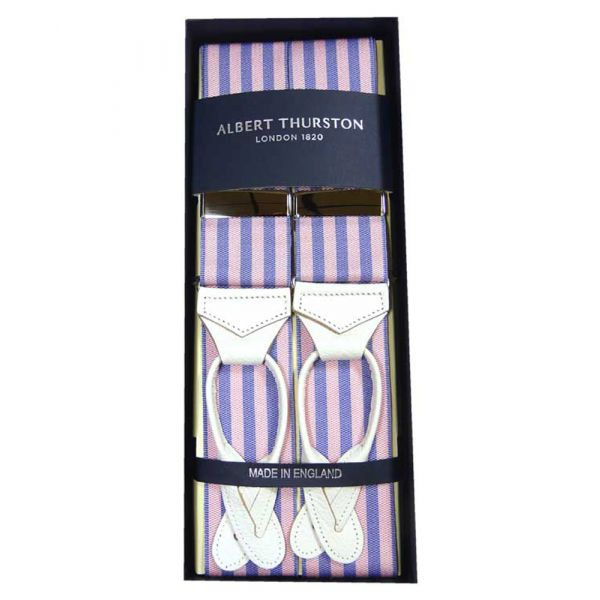 Albert Thurston Pink and Lilac Butcher Stripe Button Attach Braces