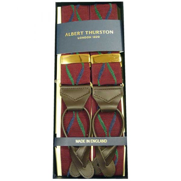 Albert Thurston Wine with Navy and Green Twisted Ribbon Button Attach Braces