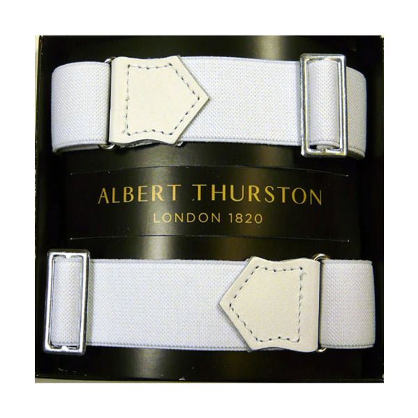 Albert Thurston White Armbands with White Leather