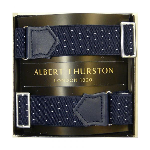 Albert Thurston Navy Armbands with White Pindot and Navy Leather