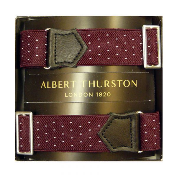 Albert Thurston Wine Armbands with White Pindot and Black Leather
