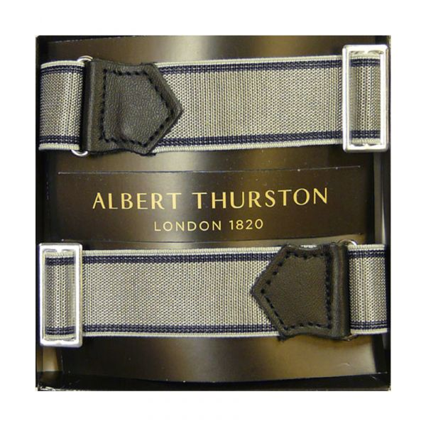 Albert Thurston Silver Armbands with Navy Edge and Black Leather