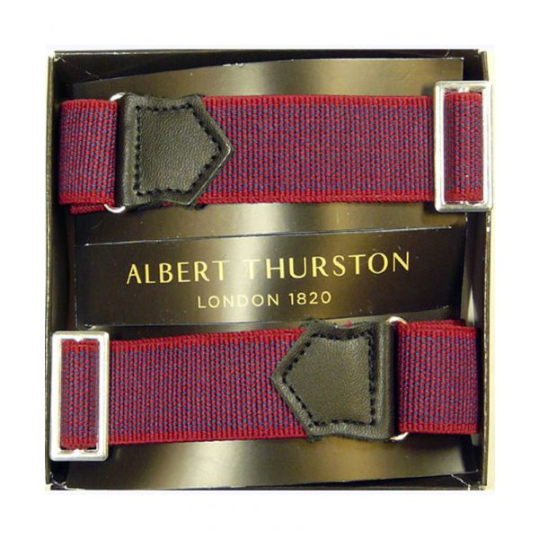 Albert Thurston Red Armbands with Navy Weave and Black Leather