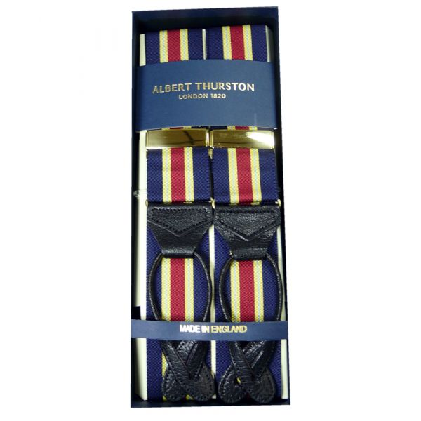 Albert Thurston Navy and Red with Yellow/Sky Stripe Braces