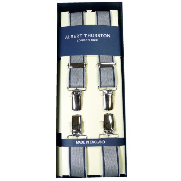 Albert Thurston Silver Navy Edged Clip Attach Braces - Skinny