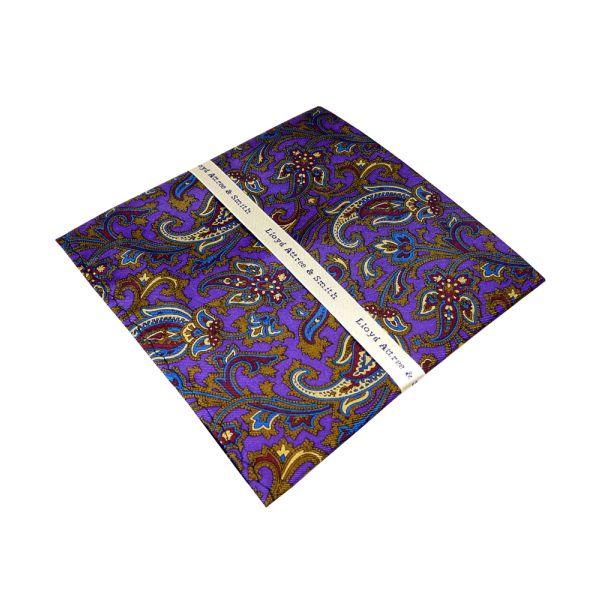 Purple Patterned Silk Hankie