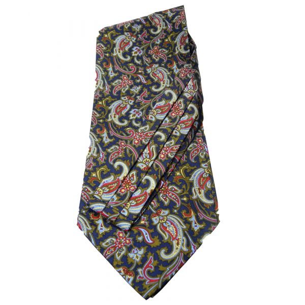 Navy Patterned Silk Self Tie Cravat
