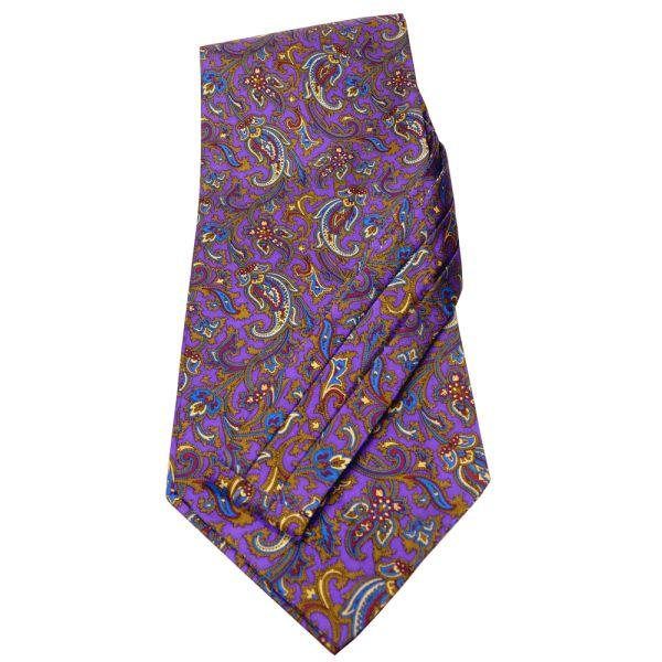 Purple Patterned Silk Self Tie Cravat