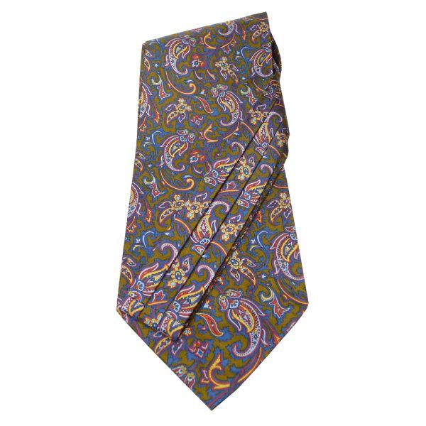 Brown Patterned Silk Self Tie Cravat