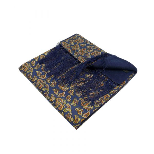 Wool Backed Silk Scarf in Navy Paisley Design