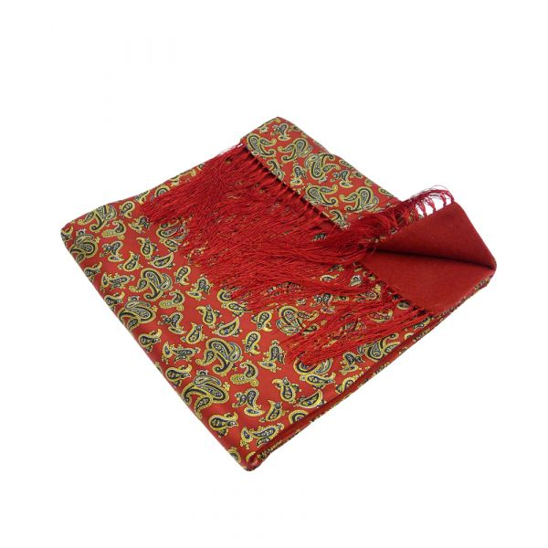 Wool Backed Silk Scarf in Red Paisley
