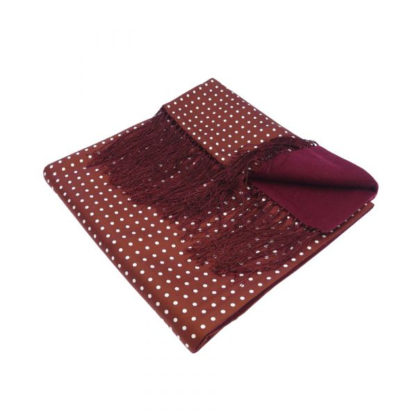 Wool Backed Silk Scarf in Wine with White Spots.