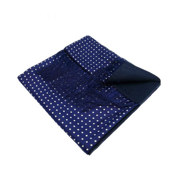 Wool Backed Silk Scarf in Navy with White Spots.