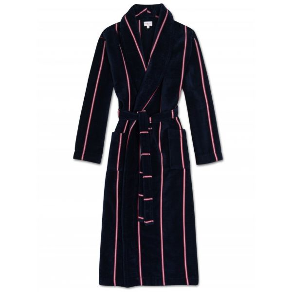Aston. Navy with Thin Red Stripes Velour Gown from Derek Rose