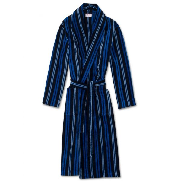 Aston. Navy with Blue Stripes Velour Gown from Derek Rose