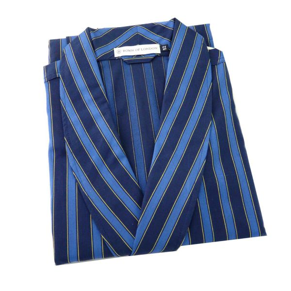 The Atlantic - Mens Blue Striped Cotton Gown from Bown of London