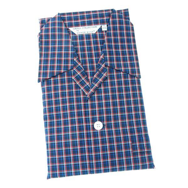 Derek Rose - Barker 22 - Mens Cotton Pyjamas in Navy and Red Check - Tie Waist