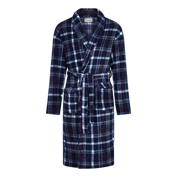Bayswater - Mens Blue Check Fleece Dressing Gown from Champion