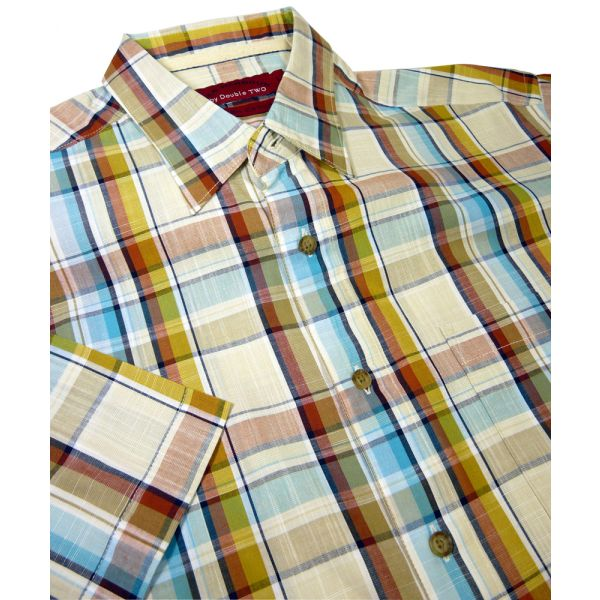 Cotton Check Short Sleeve Shirt from Double Two.