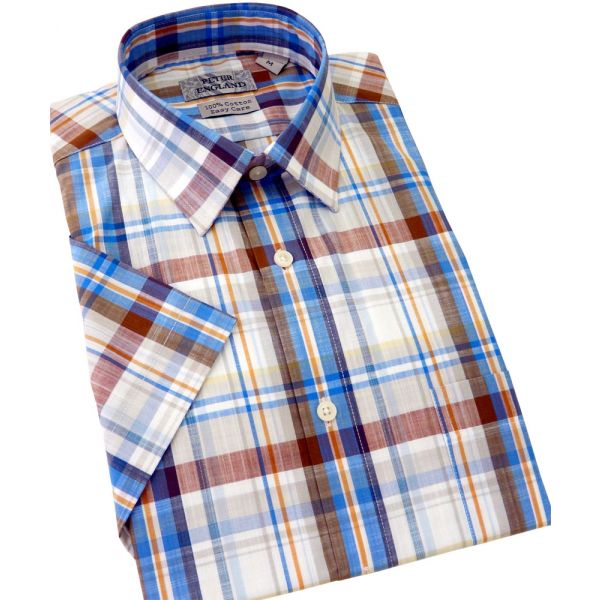 Peter England Short Sleeve Cotton Shirt in Beige and Blue Slub Check