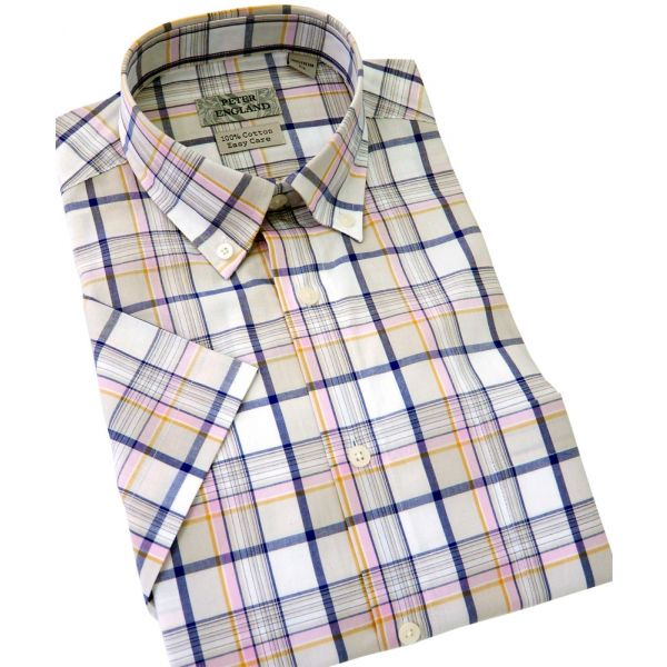 Peter England Short Sleeve Cotton Shirt in Stone with Navy Check