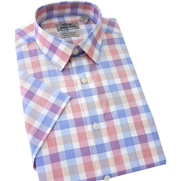 Peter England Short Sleeve Cotton Shirt in Blue and Pink End Check