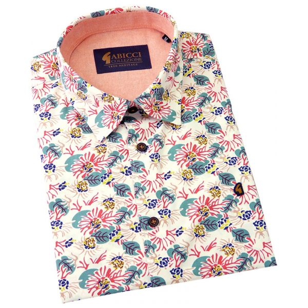 Gabicci - Mens Short Sleeve Cotton Shirt  with Pink and Green Retro Floral Design