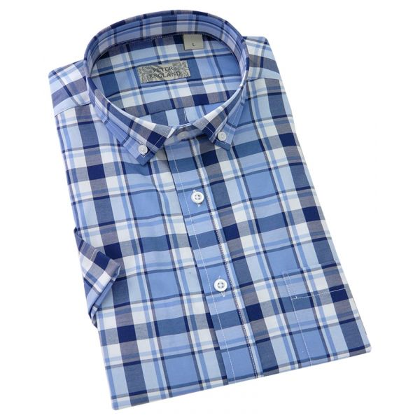 Peter England - Mens Short Sleeve Shirt  in - Blue Check