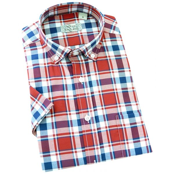 Peter England - Mens Short Sleeve Shirt  in Red Check