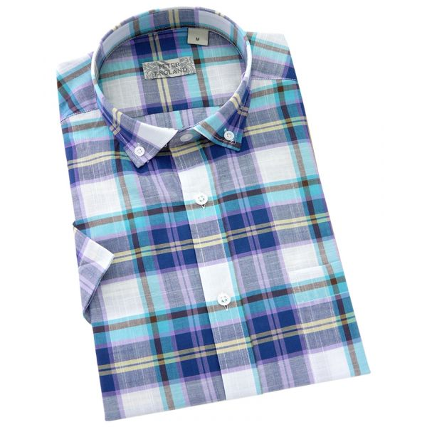 Peter England - Mens Short Sleeve Cotton Shirt  in Summer Blue Slub Plaid