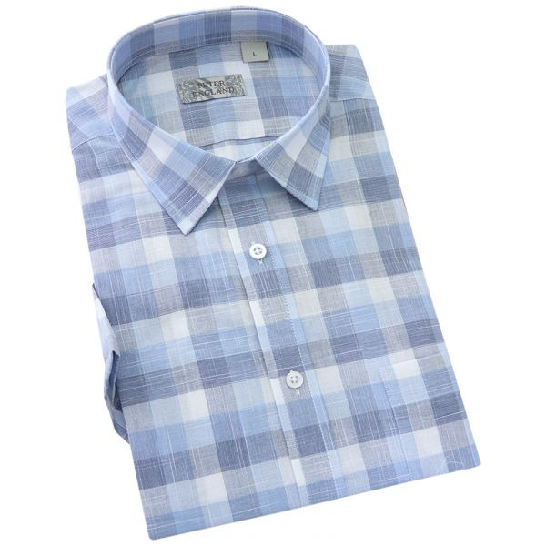Peter England - Mens Short Sleeve Cotton Shirt  in  Blue End on End Slub Check