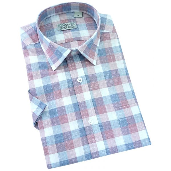 Peter England - Mens Short Sleeve Cotton Shirt  in  Red End on End Slub Check