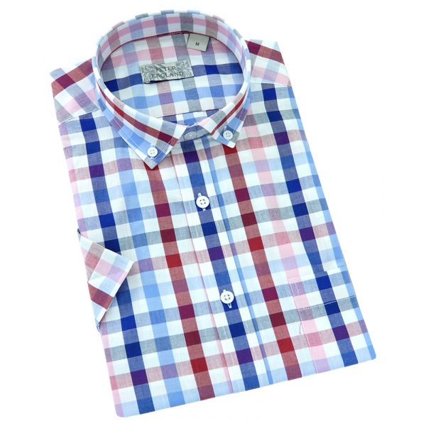 Peter England - Mens Short Sleeve Cotton Shirt  in  in Block Check