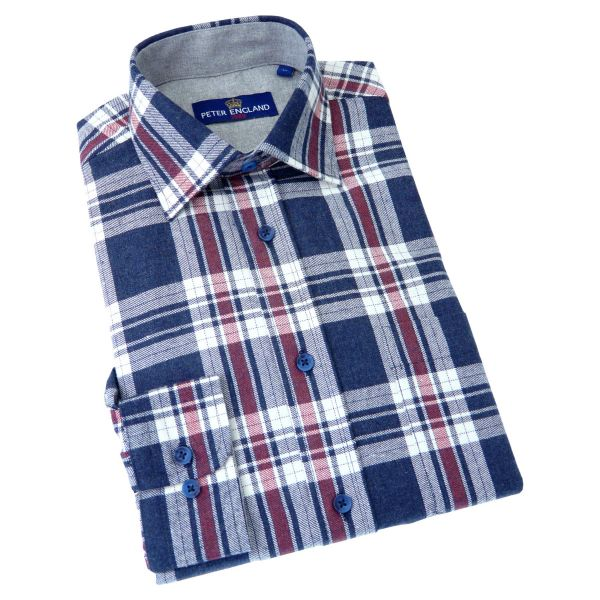 Peter England - Mens Brushed Cotton Navy White and Red Check Shirt