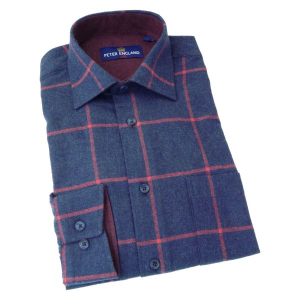 Peter England - Mens Brushed Cotton Shirt in Dark Navy with a Red Window Check