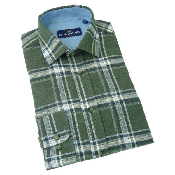 Peter England - Mens Brushed Cotton Shirt in Olive Box Check
